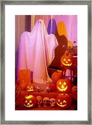 Ghost With Pumpkins Framed Print by Garry Gay