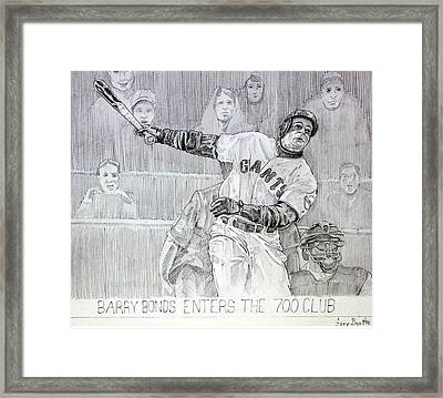 Giant Baseball Ployer Bary Bonds Enters The 700 Club Framed Print by Gary Beattie