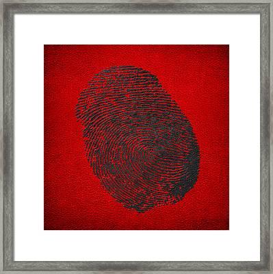 Giant Black Fingerprint On Red Leather   Framed Print