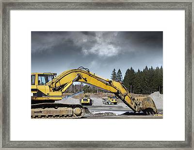 Giant Bulldozers In Action Framed Print by Christian Lagereek