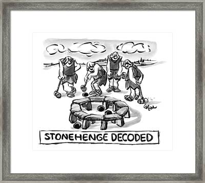 Giant Cavemen Play Croquet Using The Stonehenge Framed Print