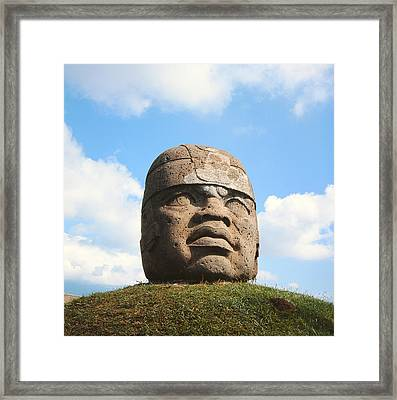 Giant Head, Olmec Culture Stone Framed Print by Pre-Columbian