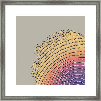Giant Iridescent Fingerprint On Clay Beige Set Of 4 - 1 Of 4 Framed Print by Serge Averbukh