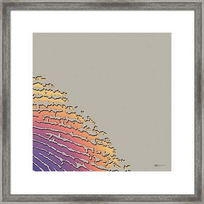 Giant Iridescent Fingerprint On Clay Beige Set Of 4 - 2 Of 4 Framed Print by Serge Averbukh