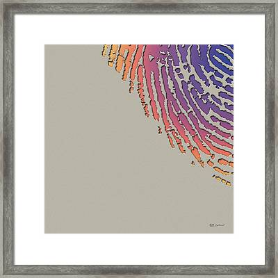 Giant Iridescent Fingerprint On Clay Beige Set Of 4 - 3 Of 4 Framed Print by Serge Averbukh