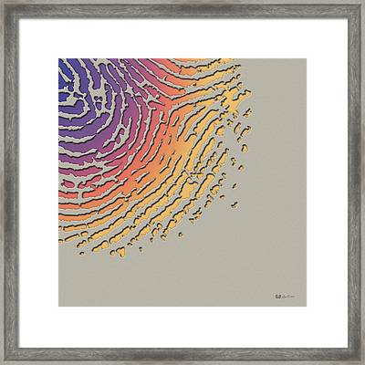 Giant Iridescent Fingerprint On Clay Beige Set Of 4 - 4 Of 4 Framed Print by Serge Averbukh