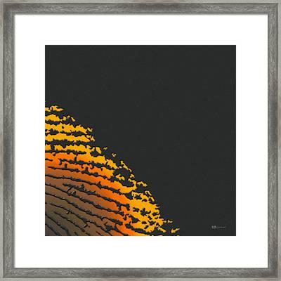 Giant Iridescent Fingerprint On Volcanic Rock Gray Set Of 4 - 2 Of 4 Framed Print
