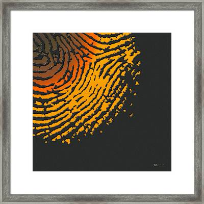 Giant Iridescent Fingerprint On Volcanic Rock Gray Set Of 4 - 4 Of 4 Framed Print