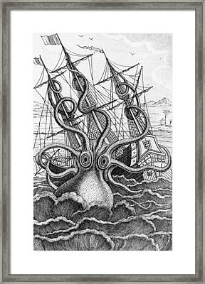 Giant Octopus Illustration From L Histoire Naturelle Generale Et Particuliere Des Mollusques Framed Print by French School