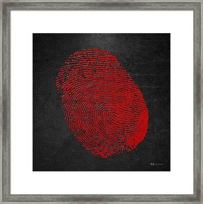 Giant Red Fingerprint On Black Leather   Framed Print