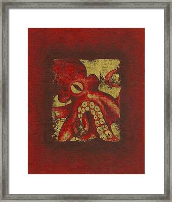 Giant Red Octopus Framed Print