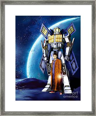 Giant Robot Phone Box With The Doctor Framed Print by Lugu Poerawidjaja