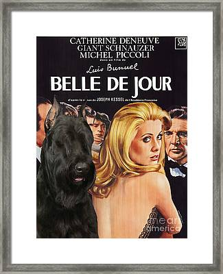 Giant Schnauzer Art Canvas Print - Belle De Jour Movie Poster Framed Print by Sandra Sij
