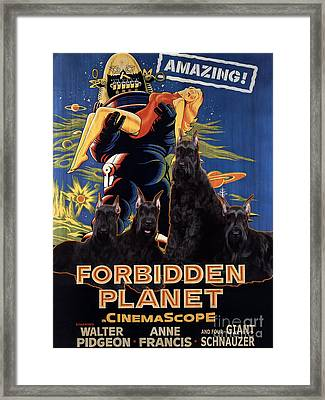 Giant Schnauzer Art Canvas Print - Forbidden Planet Movie Poster Framed Print by Sandra Sij