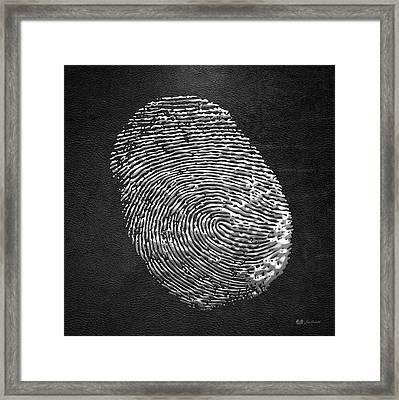 Giant Silver Fingerprint On Black Leather   Framed Print