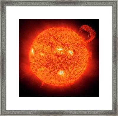 Giant Solar Prominence Framed Print by Esa/nasa/soho