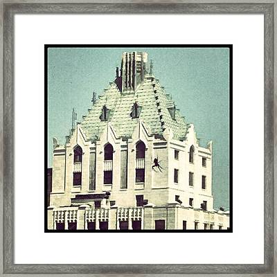 Giant Spider On The Pittsfield Framed Print by Jill Tuinier