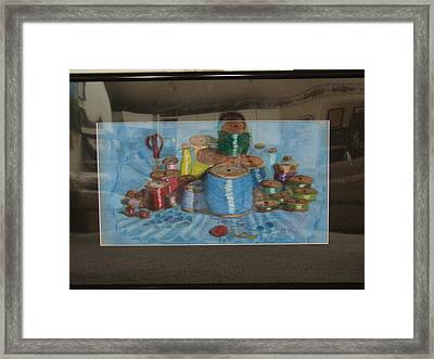 Framed Print featuring the drawing Giant Spools by Joseph Hawkins