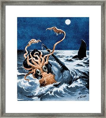 Giant Squid Attacking Sperm Whale, 1899 Framed Print by Science Source