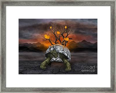 Giant Turtle Warrior In The Old Metal Armor... Framed Print