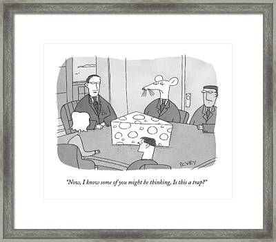 Giant Wedge Of Swiss Cheese Sits On A Desk Framed Print