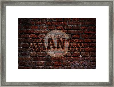 Giants Baseball Graffiti On Brick  Framed Print