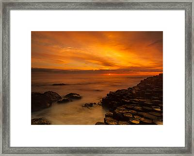 Giants Causeway Sunset Framed Print by Craig Brown