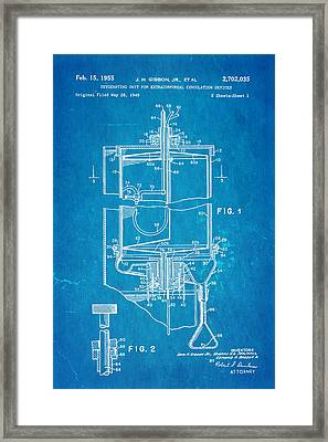 Gibbon Heart-lung Machine Patent Art 1955 Blueprint Framed Print by Ian Monk