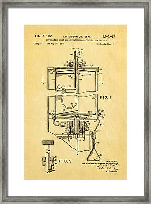 Gibbon Heart-lung Machine Patent Art 1955 Framed Print by Ian Monk
