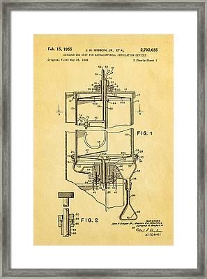 Gibbon Heart-lung Machine Patent Art 1955 Framed Print by Ian Monk