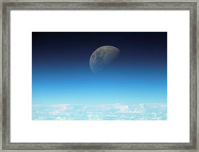 Gibbous Moon And Airglow Framed Print by Nasa