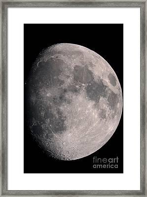 Gibbous Moon And Lunar Landscape, 2013 Framed Print