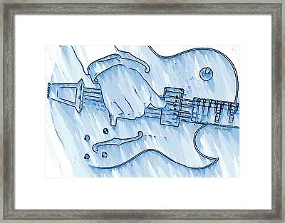 Gibson Guitar In Blue Framed Print by Chris Berry