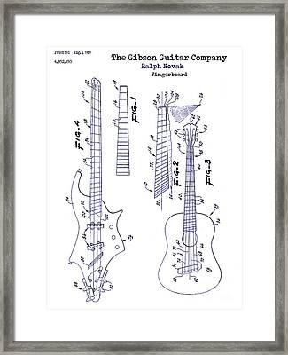 Gibson Guitar Patent Blueprint Framed Print by Jon Neidert