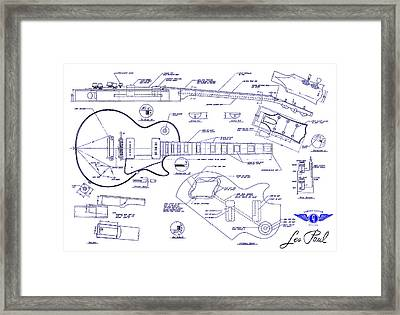 Gibson Les Paul Blueprint Drawing Framed Print