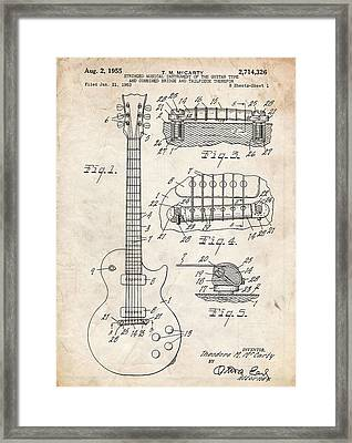 Gibson Les Paul Guitar Patent Art Framed Print by Stephen Chambers