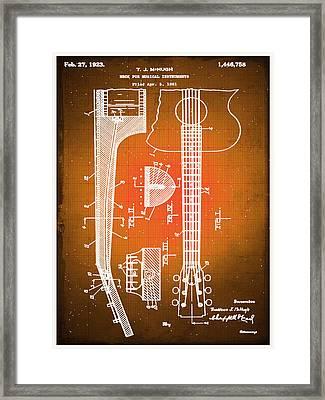 Gibson Thaddeus J Mchugh Guitar Patent Blueprint Drawing Sepia Framed Print