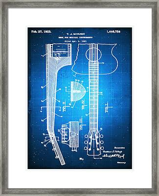 Gibson Thaddeus J Mchugh Guitar Patent Blueprint Drawing Framed Print