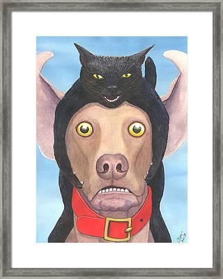 Giddyup Pink Dog Framed Print by Catherine G McElroy