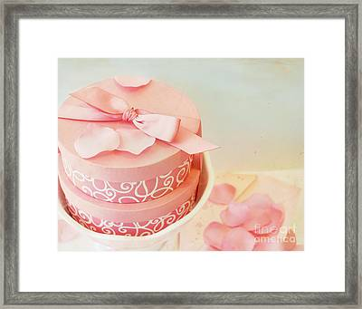 Gift Boxes And Rose Petals Framed Print