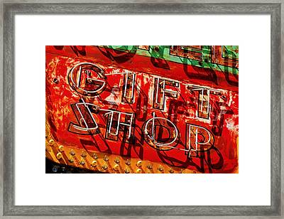 Framed Print featuring the photograph Gift Shop Sign by Daniel Woodrum