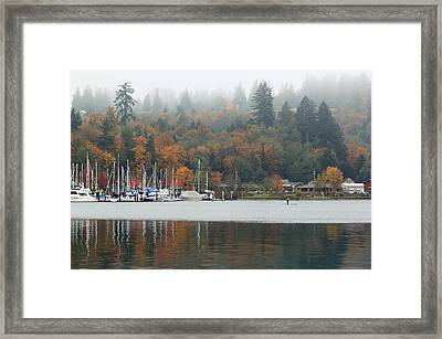 Gig Harbor In The Fog Framed Print
