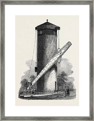 Gigantic Telescope, Called The Craig Telescope Framed Print by English School