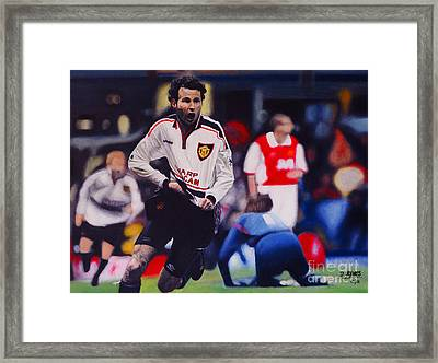 Giggs Goal V Arsenal Oil On Canvas Framed Print