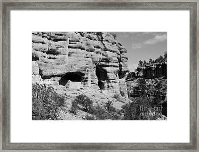 Gila Cliff Dwellings National Monument In New Mexico Usa Black And White Framed Print by Shawn O'Brien