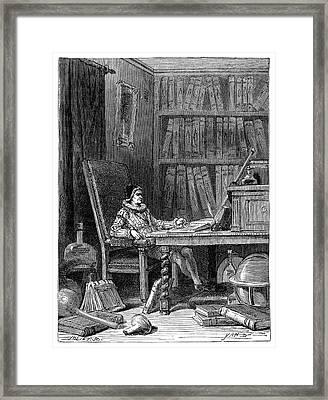 Gilbert Writing On Magnetism In 1575 Framed Print