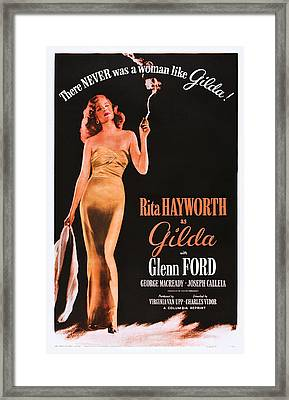 Gilda, Rita Hayworth On 1950s Poster Framed Print