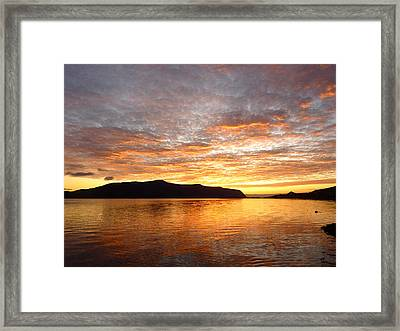Gilded Fjord While The Sun Set Over Norwegian Mountains Framed Print by David Schoenheit