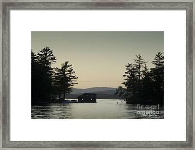 Gilford Harbor Boathouse Framed Print by David Gordon