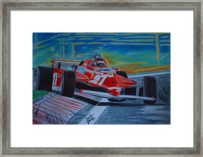 Gilles Villeneuve Framed Print by Jose Mendez